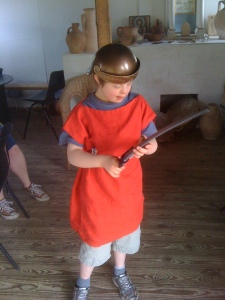 Sam trying out Roman costume for size.  Not at a mediaeval festival.